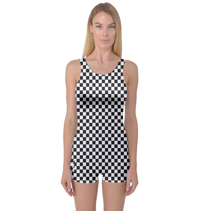 Sports Racing Chess Squares Black White One Piece Boyleg Swimsuit
