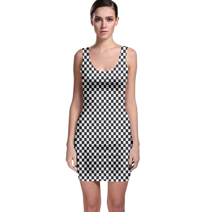 Sports Racing Chess Squares Black White Sleeveless Bodycon Dress