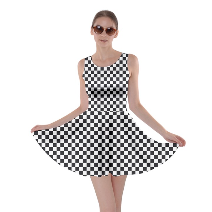Sports Racing Chess Squares Black White Skater Dress