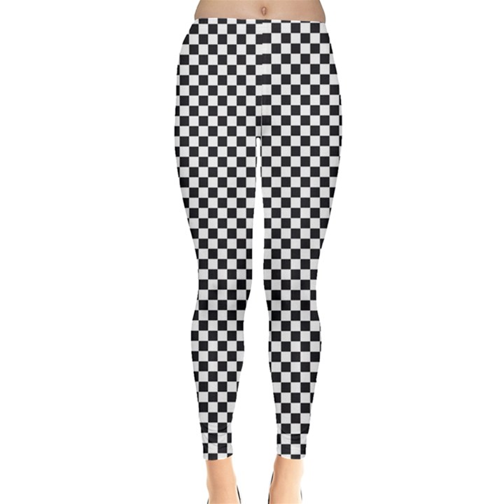 Sports Racing Chess Squares Black White Leggings