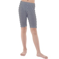 Sports Racing Chess Squares Black White Kids  Mid Length Swim Shorts
