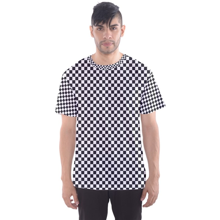 Sports Racing Chess Squares Black White Men s Sport Mesh Tee