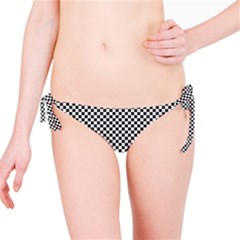 Sports Racing Chess Squares Black White Bikini Bottom