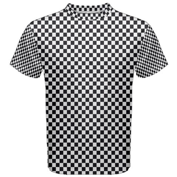 Sports Racing Chess Squares Black White Men s Cotton Tee