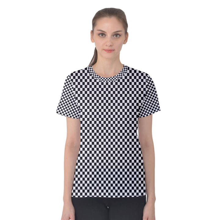 Sports Racing Chess Squares Black White Women s Cotton Tee
