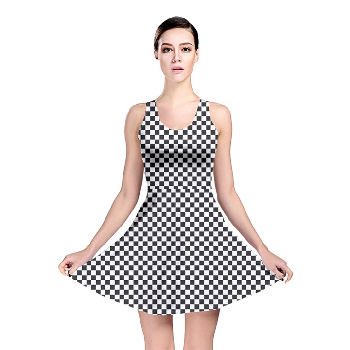 Sports Racing Chess Squares Black White Reversible Skater Dress
