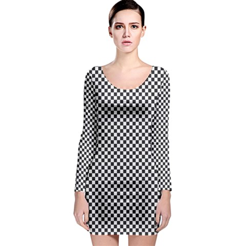 Sports Racing Chess Squares Black White Long Sleeve Bodycon Dress