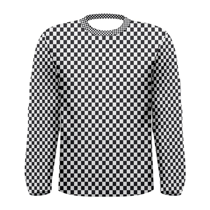 Sports Racing Chess Squares Black White Men s Long Sleeve Tee
