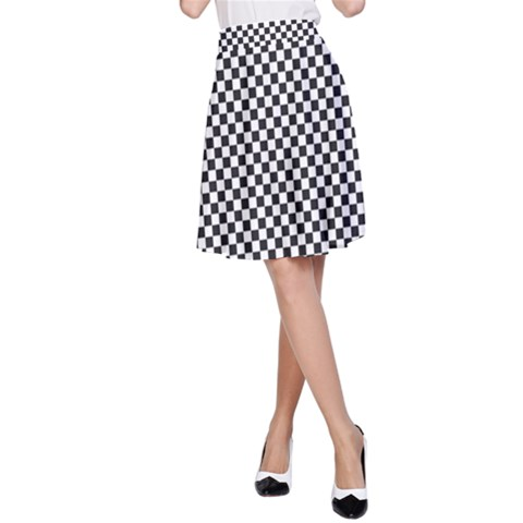 Sports Racing Chess Squares Black White A-Line Skirt