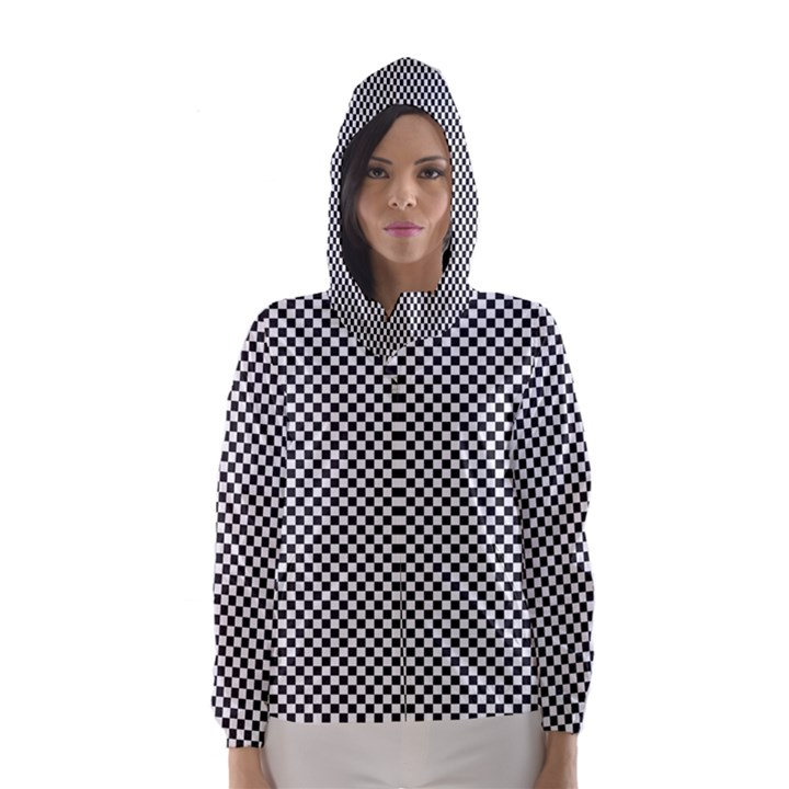 Sports Racing Chess Squares Black White Hooded Wind Breaker (Women)