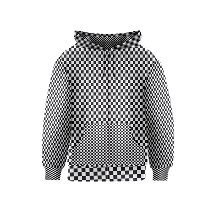 Sports Racing Chess Squares Black White Kids  Zipper Hoodie