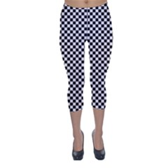 Sports Racing Chess Squares Black White Capri Winter Leggings