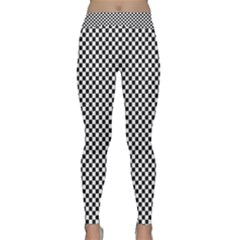 Sports Racing Chess Squares Black White Yoga Leggings