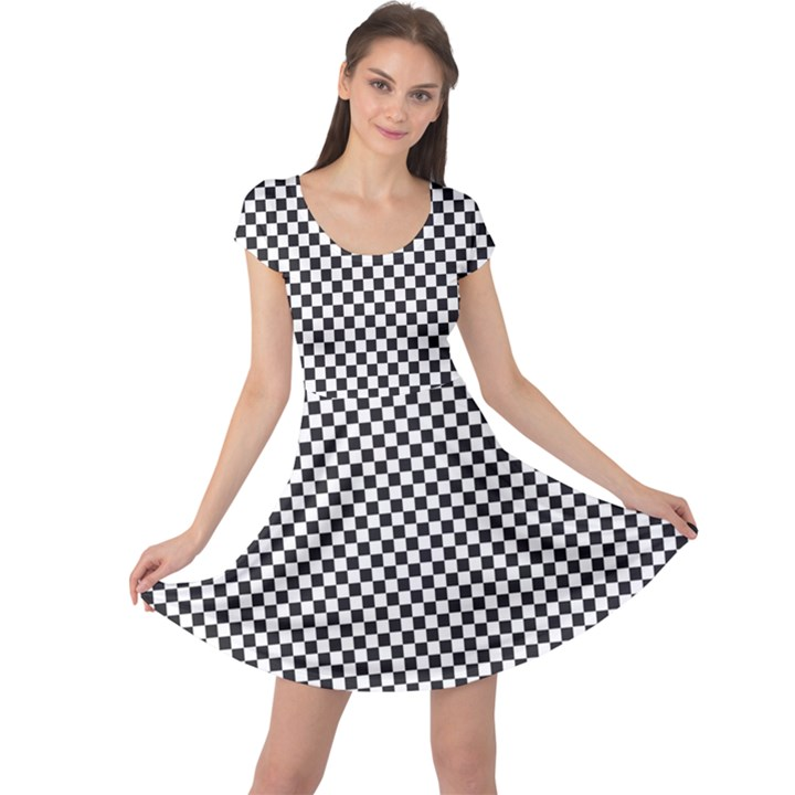 Sports Racing Chess Squares Black White Cap Sleeve Dresses