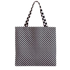 Sports Racing Chess Squares Black White Zipper Grocery Tote Bag
