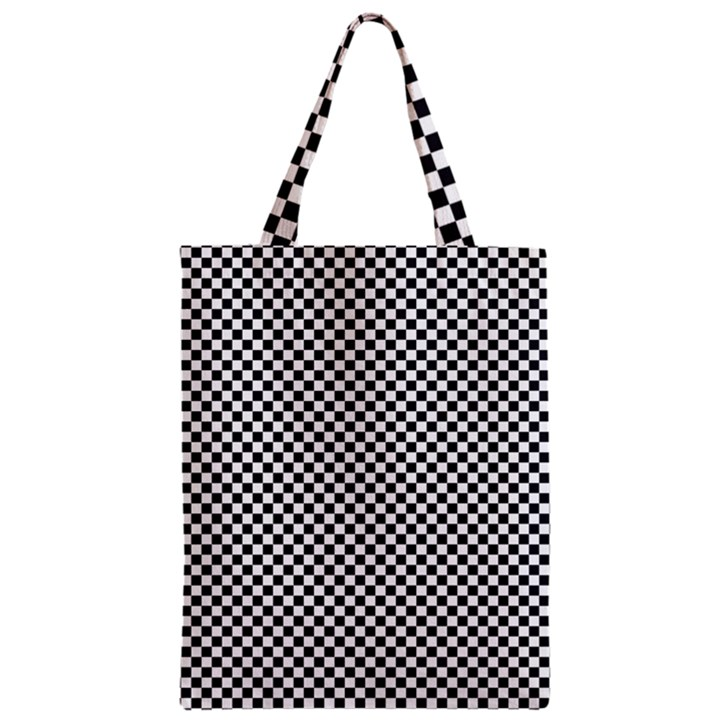 Sports Racing Chess Squares Black White Zipper Classic Tote Bag