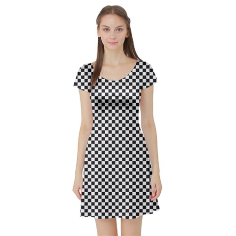 Sports Racing Chess Squares Black White Short Sleeve Skater Dress