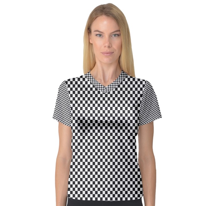 Sports Racing Chess Squares Black White Women s V-Neck Sport Mesh Tee