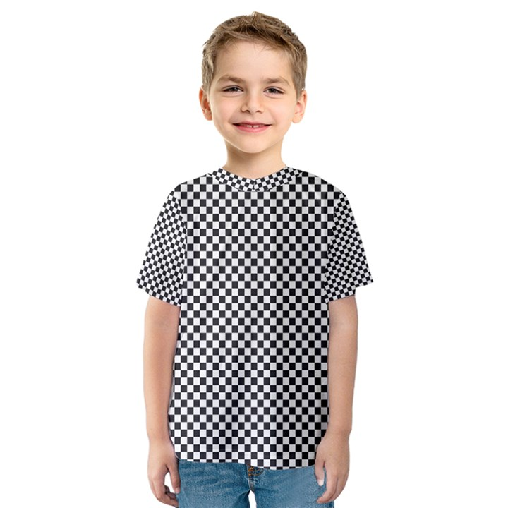 Sports Racing Chess Squares Black White Kids  Sport Mesh Tee