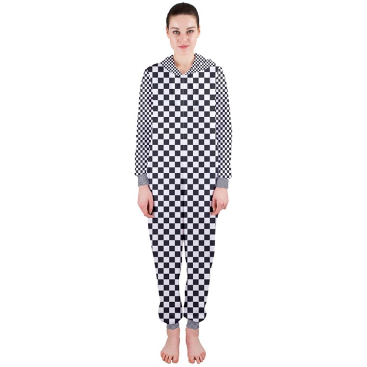 Sports Racing Chess Squares Black White Hooded Jumpsuit (Ladies)