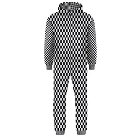 Sports Racing Chess Squares Black White Hooded Jumpsuit (Men)
