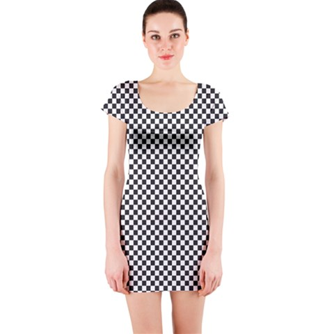 Sports Racing Chess Squares Black White Short Sleeve Bodycon Dress