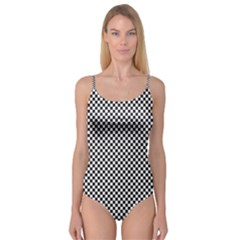 Sports Racing Chess Squares Black White Camisole Leotard