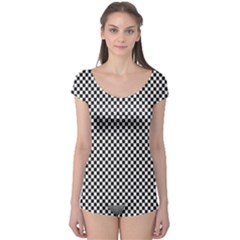 Sports Racing Chess Squares Black White Boyleg Leotard