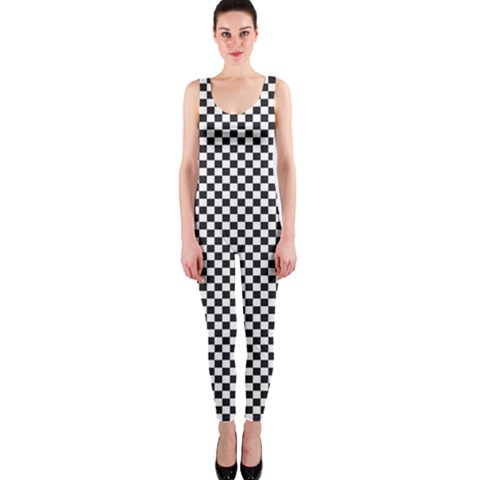 Sports Racing Chess Squares Black White OnePiece Catsuit