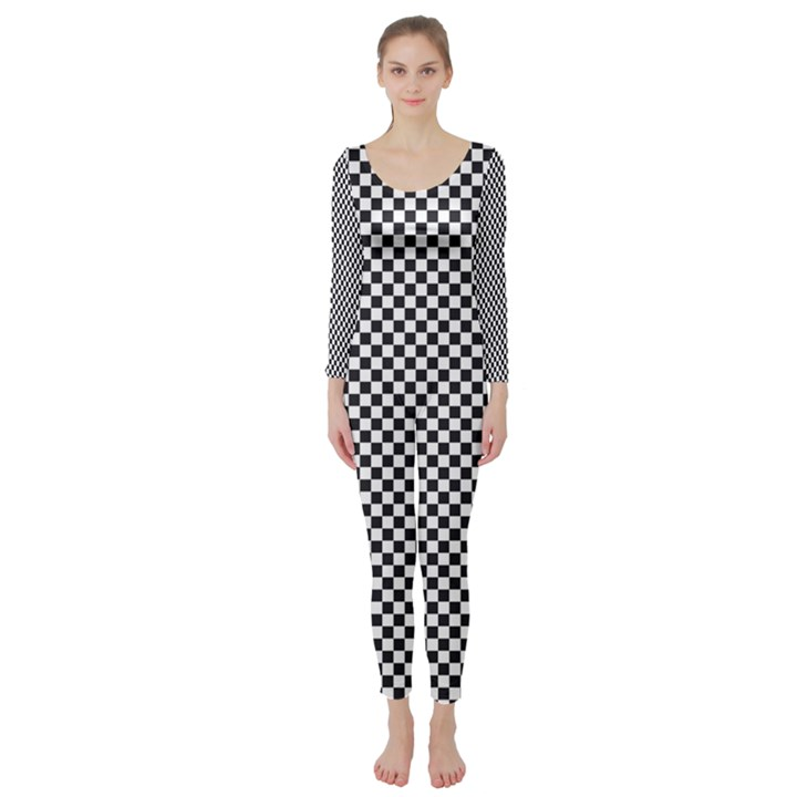 Sports Racing Chess Squares Black White Long Sleeve Catsuit