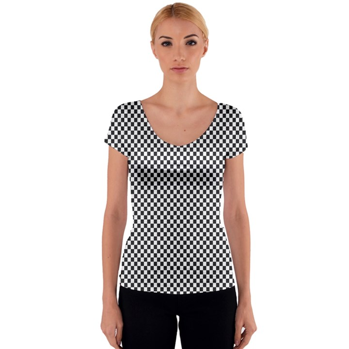 Sports Racing Chess Squares Black White Women s V-Neck Cap Sleeve Top