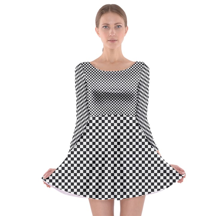 Sports Racing Chess Squares Black White Long Sleeve Skater Dress