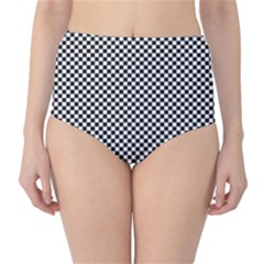 Sports Racing Chess Squares Black White High-Waist Bikini Bottoms
