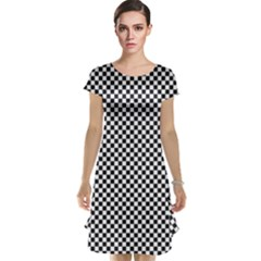 Sports Racing Chess Squares Black White Cap Sleeve Nightdress