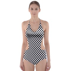 Sports Racing Chess Squares Black White Cut-Out One Piece Swimsuit