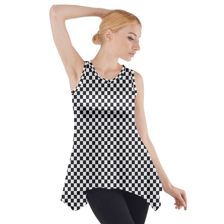 Sports Racing Chess Squares Black White Side Drop Tank Tunic