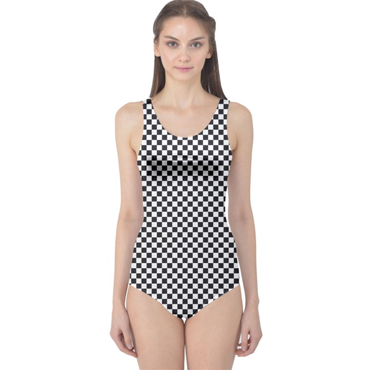 Sports Racing Chess Squares Black White One Piece Swimsuit