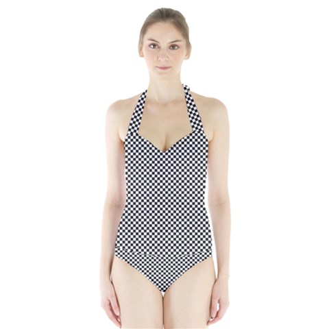 Sports Racing Chess Squares Black White Halter Swimsuit