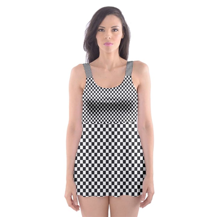 Sports Racing Chess Squares Black White Skater Dress Swimsuit