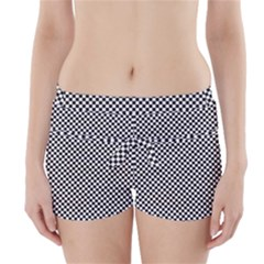 Sports Racing Chess Squares Black White Boyleg Bikini Wrap Bottoms