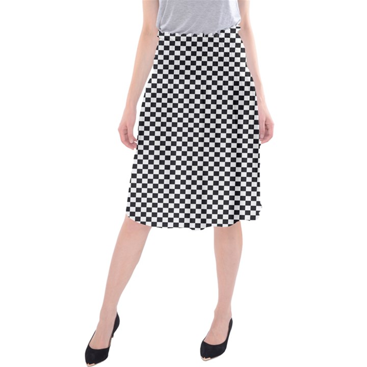 Sports Racing Chess Squares Black White Midi Beach Skirt