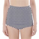 Sports Racing Chess Squares Black White High-Waisted Bikini Bottoms View1