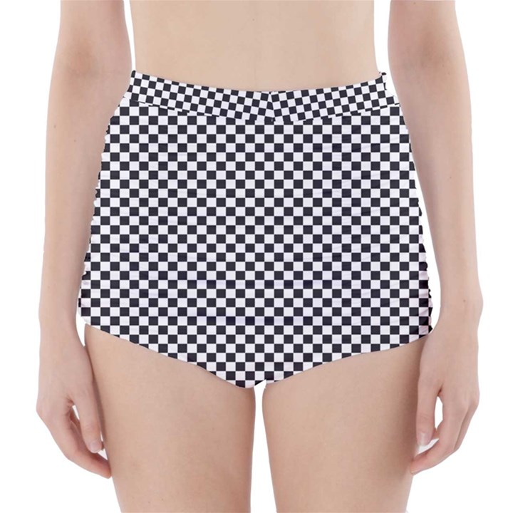 Sports Racing Chess Squares Black White High-Waisted Bikini Bottoms