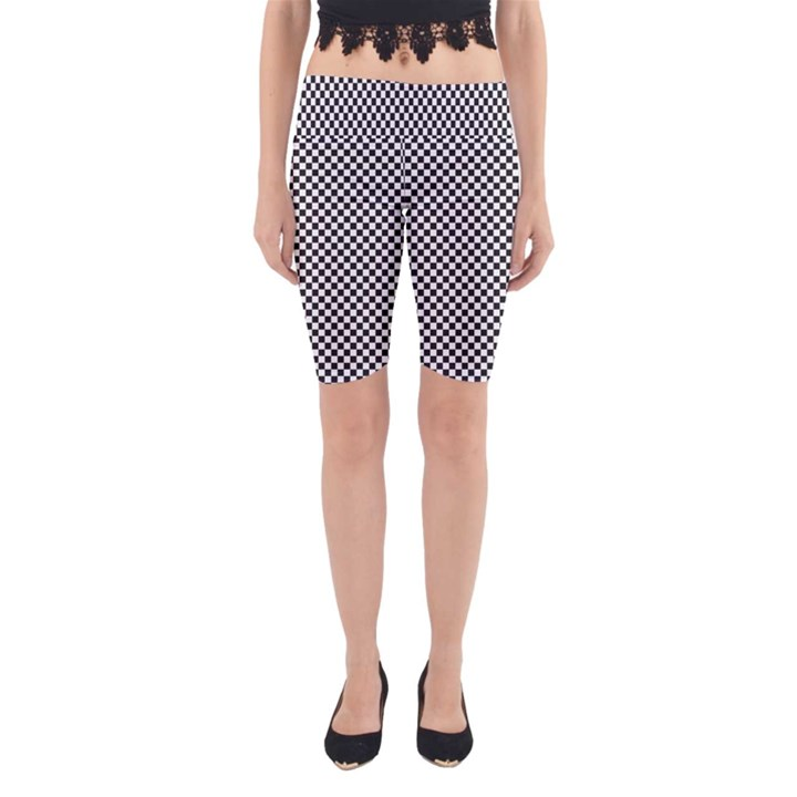 Sports Racing Chess Squares Black White Yoga Cropped Leggings