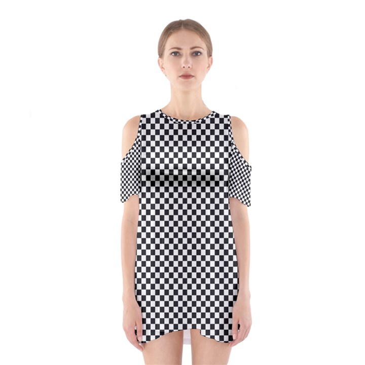Sports Racing Chess Squares Black White Cutout Shoulder Dress