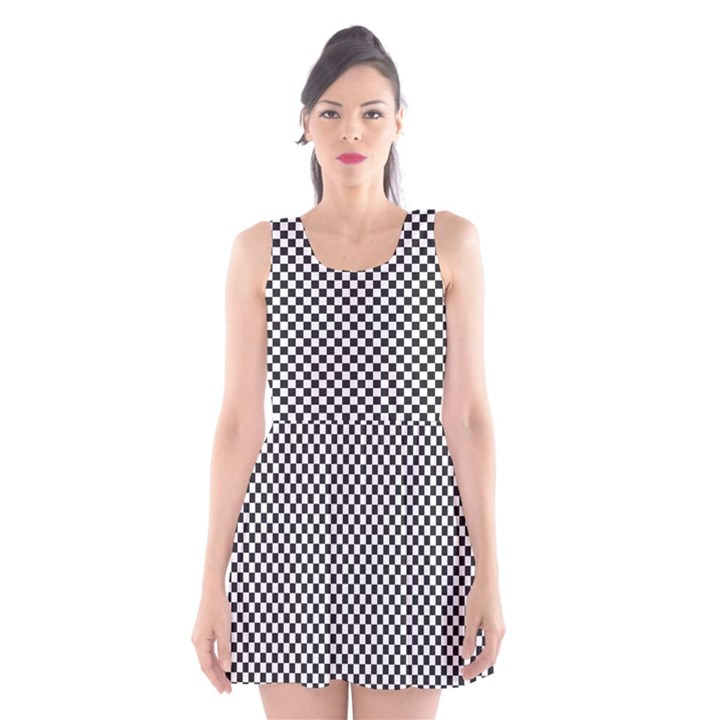 Sports Racing Chess Squares Black White Scoop Neck Skater Dress