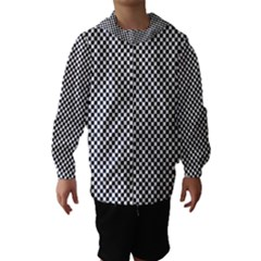 Sports Racing Chess Squares Black White Hooded Wind Breaker (Kids)