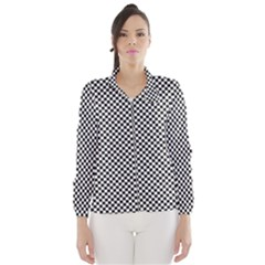 Sports Racing Chess Squares Black White Wind Breaker (Women)
