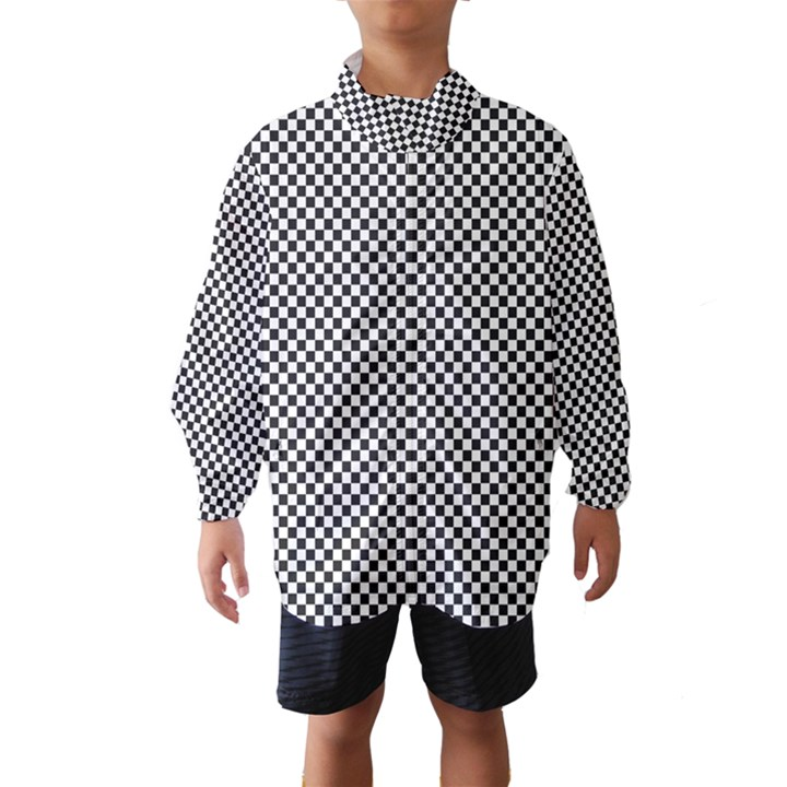 Sports Racing Chess Squares Black White Wind Breaker (Kids)