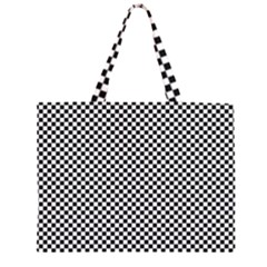 Sports Racing Chess Squares Black White Large Tote Bag